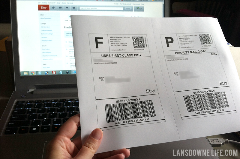 Using Etsy shipping labels