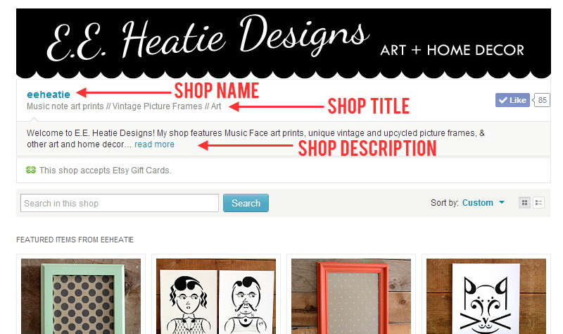 Etsy shop SEO - Shop name - Shop title - Shop description