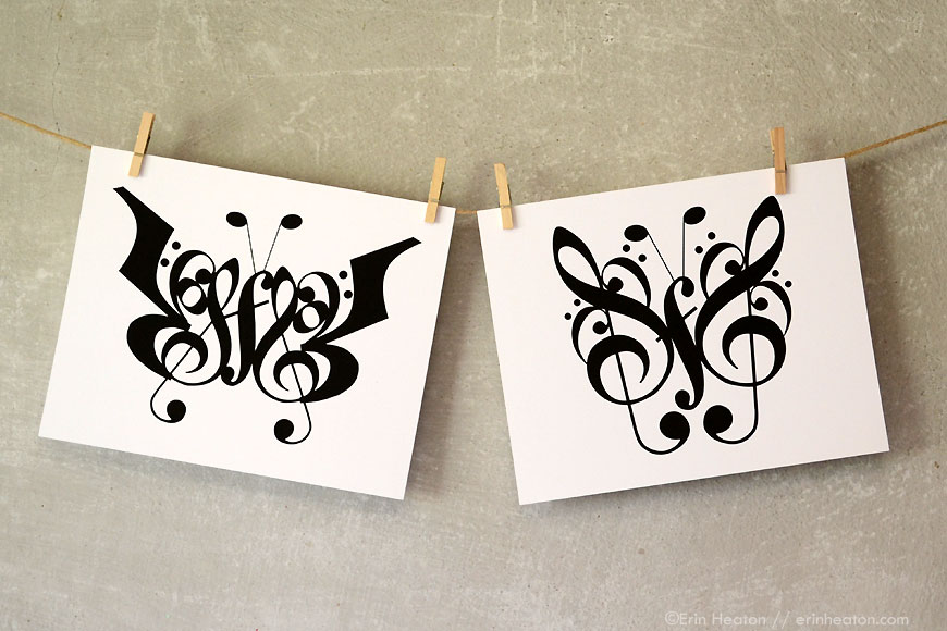 Butterfly music note art