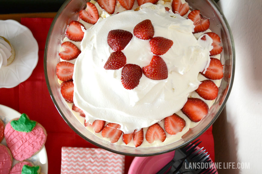 Strawberry birthday party trifle